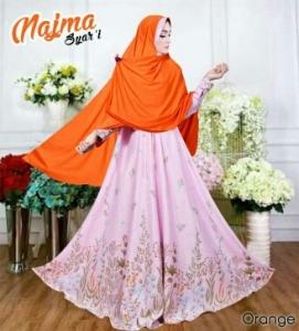 Baju Gamis Cantik Bahan Balotelli Najma Syar'i Orange