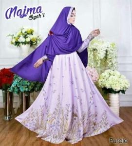 Baju Gamis Cantik Bahan Balotelli Najma Syar'i Purple