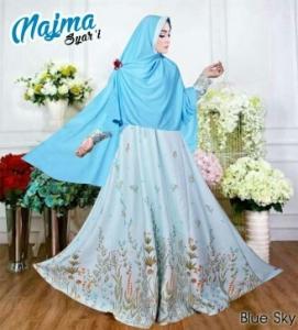 Baju Gamis Cantik Bahan Balotelli Najma Syar'i Sky Blue