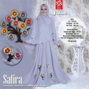 Baju Gamis Cantik Dan Modis Bahan Woolpeach Safira Syar'i Abu