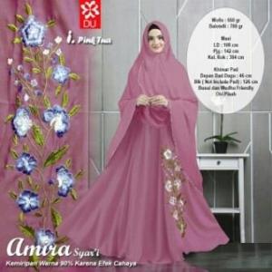 Baju Gamis Cantik Syar'i Dengan Bahan WoolPeachAmira Syar'i Pink