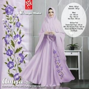 Baju Gamis Cantik Syar'i Dengan Bahan Woolpeach Amira Syar'i Ungu Muda