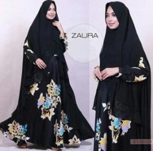 Baju Gamis Terbaru Syar'i Bahan Maxmara Zaura Syar'i Black