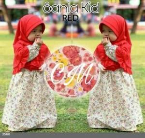 Baju Mujslim Anak Sania Kids Red Bahan Katun Jepang Bermotif