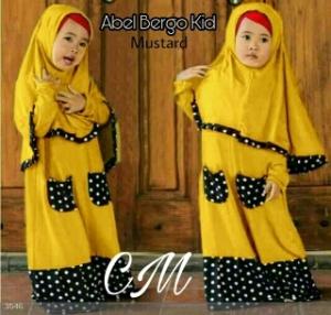 Baju Muslim Anak Abel Kids Mustard Bahan Jersey Kombinasi waffle