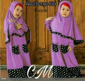 Baju Muslim Anak Abel Kids Purple Bahan Jersey Kombinasi Waff;e