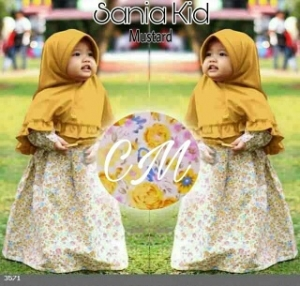 Baju Muslim Anak Sania Kids Mustard Bahan Katun Jepang Bermotif
