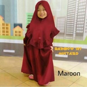 Busana Muslim Anak Cantik Bahan Jersey Sutra Zura Kids Maroon