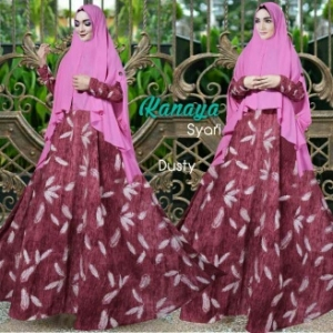 Gamis MuslimH Bahan Bubble Pop Kanaya Syar'i Dusty