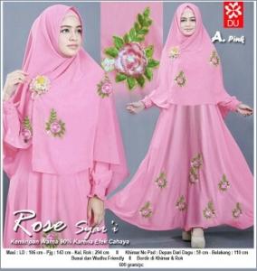 Gamis Syar'i Cantik Dengan Bahan Balotelli Rose Syar'i Pink Rose