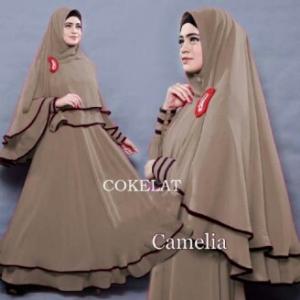 Gamis Syar'i Ukuran Kecil Camelia coklat