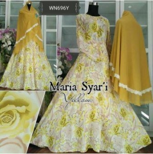Baju Gamis Katun Impor Maria Syar'i Kuning