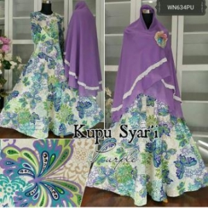 Baju Gamis Katun Kupu Syar'i Cantik