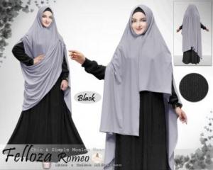 Baju Muslim Ukuran Besar Bahan Alfa babat Felloza Syar'i Hitam