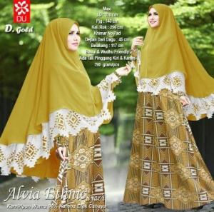 Baju Muslim Wanita Cantik Bahan Catarina Ethnic Syar'i Gold