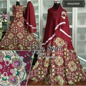 Baju Muslim Wanita Syar'i Bahan Crepe Lapis Furing Diva Syar'i Maroon