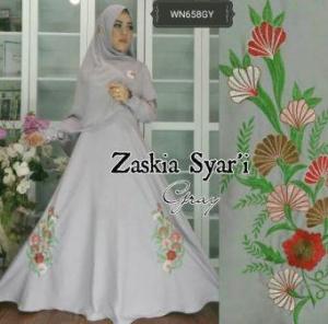 Baju Muslim Wanita Terbaru Zaskia Syar'i-2 Anggun Bahan Wolly Crepe