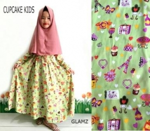 Busana Muslim Anak Cupcake Kids Green Tea Untuk Lebaran Bahan Crepe