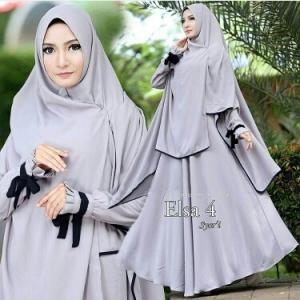 Busana Muslim Lebaran Elsa Syar'i Silver Bahan Bubble pop