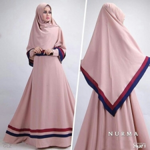 Gamis Murah Bahan Crepe Nurma Syar'i Dusty Pink