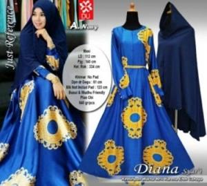 Baju Gamis CAntik Diana Syar'i Biru Untuk Lebaran Bahan Maxmara