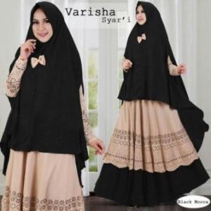 Baju Gamis Terbaru Mewah Varisha Syar'i Black Bahan Maxmara