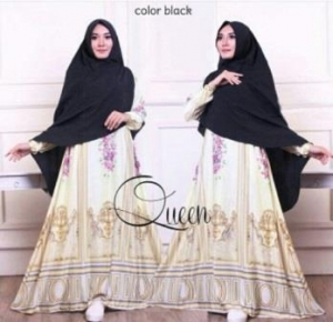 Baju Gamis Terbaru Queen Black Bahan Maxmara Lux