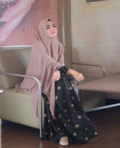 Baju Gamis Terbaru Starlight Black Syar'i Bahan Woolpeach