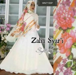 Baju Gamis Terbaru Zalia Syar'i Pink Bahan Wolly Crepe