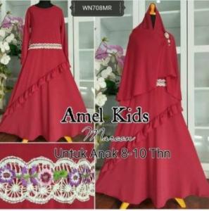 Baju Muslim Anak Cantik Amel Kids Maroon