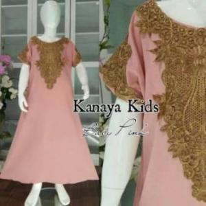Baju Muslim Anak Perempuan Kanaya Kids warna Salem Bahan Woolpeach