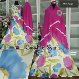 Baju Muslim Online Terbaru Candice Syar'i Bahan Ceruty