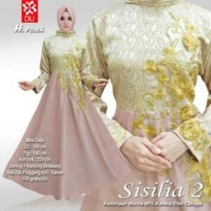 Baju Muslim Pesta Bahan Jacquard Sisilia Peach
