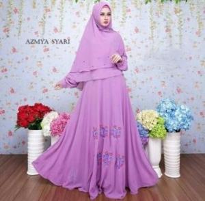 Baju Muslim Wanita Azmya Lavender Bahan Ceruty Lapis Furing