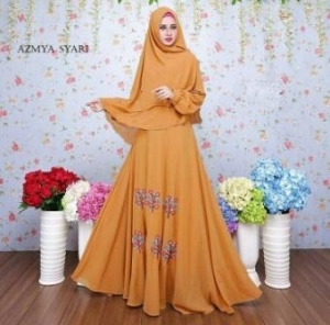 Baju Muslim Wanita Azmya Syar'i Mustard Bahan Ceruty Lapis Furing