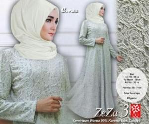 Baju Muslim Wanita Murah Zeza 3 warna putih Bahan Bianca Impor
