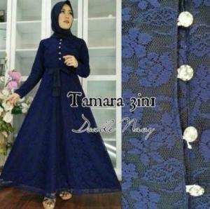 Busana Muslim Pesta Ukuran Kecil Tamara 3 in 1 warna Biru Bahan Brukat Terbaru
