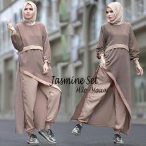 Busana Muslim Trendy Kekinian Jasmine Set Warna Milo Moca Bahan Spandex Korea
