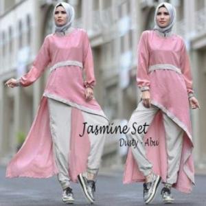 Busana Muslim Trendy Keminian Jasmine Set warna Dusty Abu Bahan Spandex Korea
