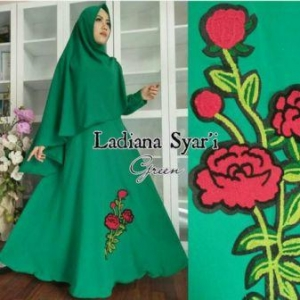Busana Muslim Wanita Ladiana Syar'i warna Hijau Bahan Woolpeach