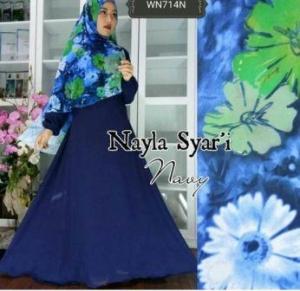 Busana Muslim Wanita Terbaru Nayla Syar'i Navy Bahan Wolly Crepe