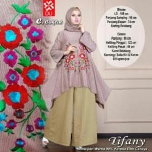 Busana Musllim Tifany Set Trendy warna Coklat Masa Kini Bahan Katun Yanded