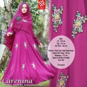 Gamis CAntik Carenina Syar'i warna Fanta Untuk Lebaran Bahan Wollpeach