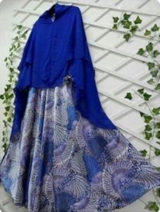 Gamis Cantik Terbaru Peacock Syar'i warna elblue Untuk Lebaran Bahan Monalisa