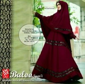 Gamis Murah Terkini Baloo Syar'i Warna Maroon Bahan Spandex Jersey Lapis Furing