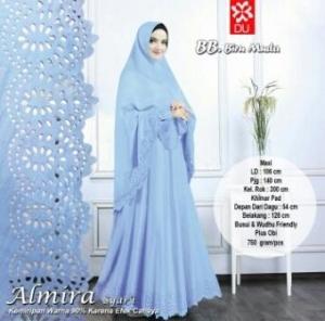 Gamis Muslimah CAntik Almira Syar'i Biru Muda Bahan Baloteli