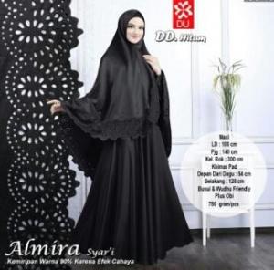 Gamis Muslimah Cantik Almira Syar'i Hitam Bahan Baloteli