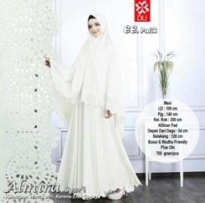 Gamis Muslimah Cantik Almira Syar'i Putih Bahan Baloteli