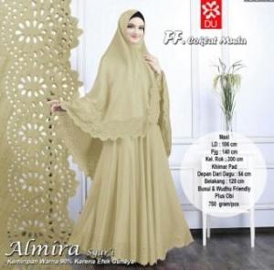 Gamis Muslimah Cantik Bahan Baloteli Almira Syar'i Coklat Muda