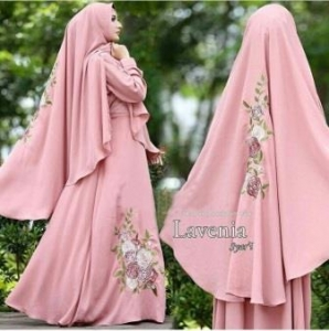 Gamis Muslimah Cantik Lavenia Dusty Pink Dengan Bahan Wolfis